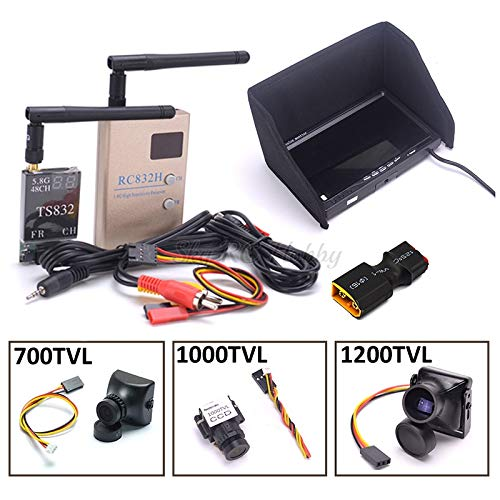 FPV Combo System 5.8Ghz 600mw 48CH TS832 Transmitter RC832H RC832 Receiver 7 inch LCD 1024 x 600 Monitor 700TVL / 1200TVL Camera - (Color: with 700TVL Camera)