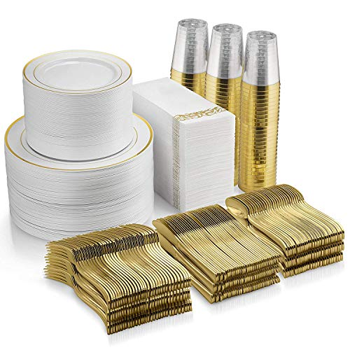700 Piece Gold Dinnerware Set - 200 Gold Rim Plastic Plates - 100 Gold Plastic Silverware - 100 Gold Plastic Cups - 100 Linen Like Gold Paper Napkins, 100 Guest Disposable Gold Dinnerware Set