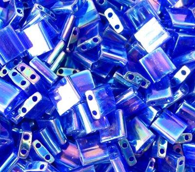 Miyuki Tila Seed Beads Transparent Dark Cobalt AB (TL177) 5x5x1.9mm Square with (2) 0.8mm holes 40 grams