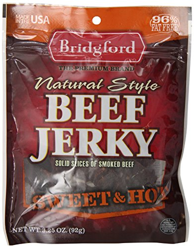 Bridgford Beef Jerky, Sweet and Hot, 3.25 Ounce Pouch