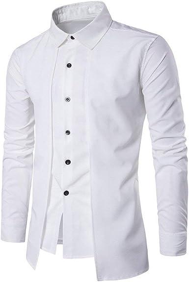 Camisa De Los Hombres De Los Hombres Camisas Largas Formales Delgadas Camisa Camisas De Los Hombres De Dos Esmoquin Camisas del Cuello del Soporte De La Boda: Amazon.es: Ropa y accesorios