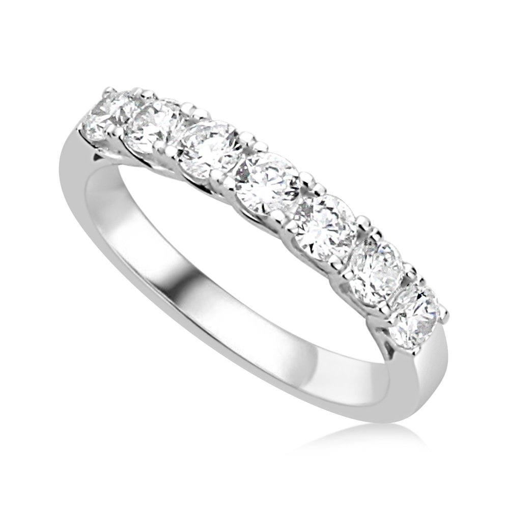 Sterling Silver Rhodium Plated Wedding Ring Round CZ Seven Stone Anniversary Ring 3MM (Size 5 to 10), 10