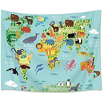 LB World Map Tapestry Animal Tapestry Wall Hanging Cartoon Wild Ocean and Land Creature Distribution Map Wall Blanket for Kids Bedroom Living Room Dorm Decor,60Wx40H inches