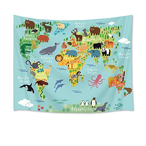 - LB World Map Tapestry Animal Tapestry Wall Hanging Cartoon Wild Ocean and Land Creature Distribution Map Wall Blanket for Kids Bedroom Living Room Dorm Decor,60Wx40H inches