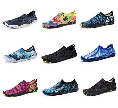 Water Shoes Mens Womens Beach Swim Shoes Quick-Dry Aqua Socks Pool Shoes for Surf Yoga Water Aerobics Black 9 B(M) US Women / 8 D(M) US Men