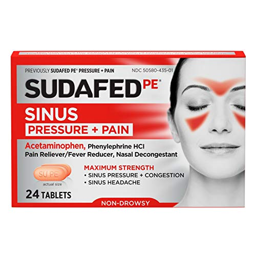 Sudafed PE Sinus Pressure + Pain Relief Maximum Strength Non-Drowsy Decongestant, 24 ct