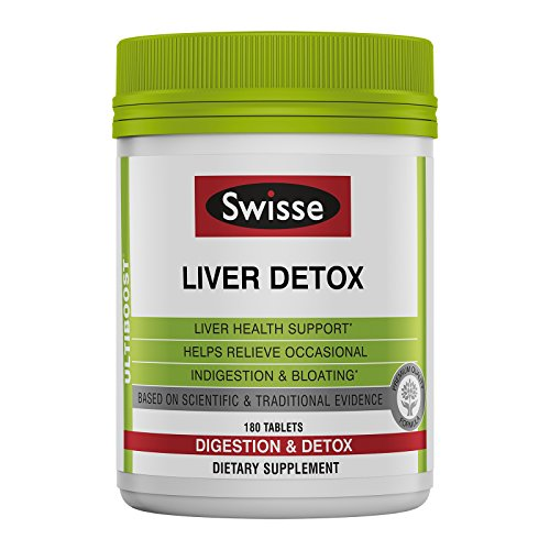 Swisse Ultiboost Liver Detox Tablets - Traditional Herbal Based Supplement - Supports Liver Health & Function - Milk Thistle, Artichoke & Turmeric (180 Tablets)