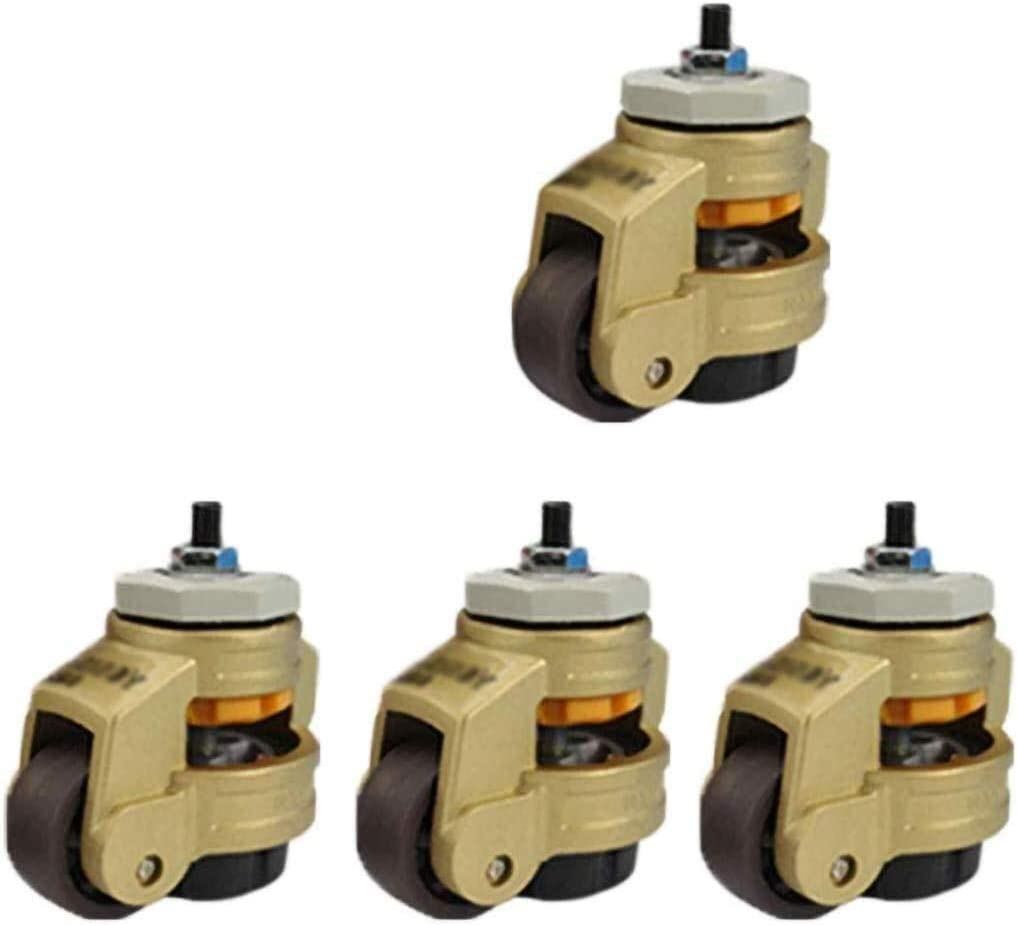Bolts//Hardware Included 500 Kg,Adjustable 8 Mm-12 Mm Color : Gold, Size : 40S Byrhgood 4 Extra Heavy Duty Retractable Swivel Castor Wheel,Non-Slip Base,Threaded Stem