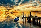 Sunset Boat Lake Art Print Canvas Poster,Home Wall Decor(28x42 inch)
