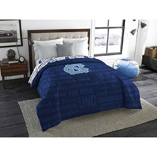 1 Piece NCAA University of North Carolina Tar Heels Comforter Full/Twin, Sports Patterned Bedding, Featuring Team Logo, Fan Merchandise, Team Spirit, College Basket Ball Themed, Blue, Unisex (Carolina Comforter)