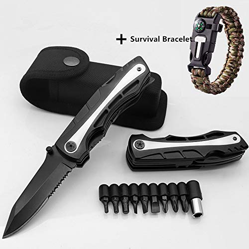 Pocket Knife/Folding Knife/Hunting Knife/Utility Knife/Camping Knife/Survival Knife with Blade,Saw,Plier,Screwdriver,Bottle Opener-Perfect for Outdoor,Self Defense,Survival,Free Emergency -