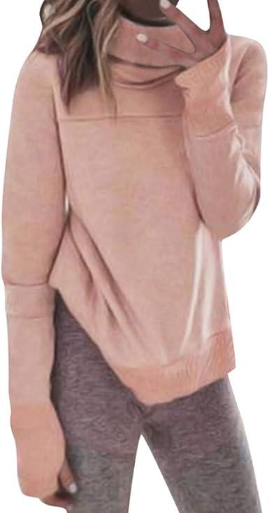Sylar Sudaderas Mujer Sin Capucha Sudaderas Mujer Cuello Alto Color Sólido Camisetas De Manga Larga para Mujer Camisa De Mujer con Bufanda Moda Invierno Pullover Blusas Mujer Elegantes Camisas Top: Amazon.es: Ropa