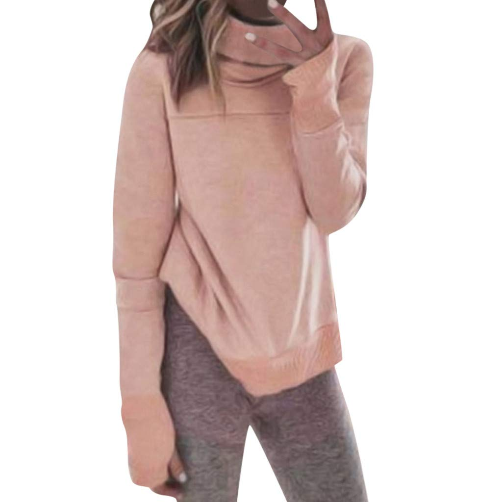 Yoyorule Autumn Pullover Top Women High Neck Long Sleeve Sweatshirt Pullover Shirt Tops Blouse Pink