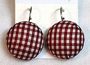 Red and White Check Pattern Western Earrings