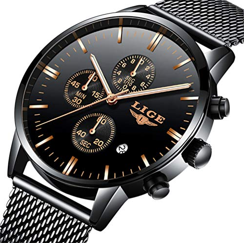 Mens Watches Fashion Waterproof Stainless Steel Analog Quartz Watch Men Luxury Brand LIGE Black Classic Casual Date Mesh Wrist Watch