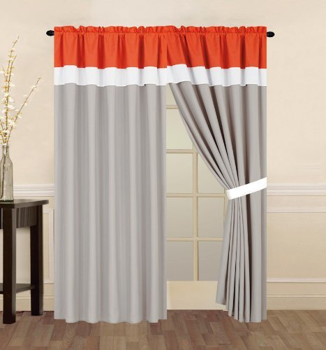 Amazon.com: 4 Piece Coral Orange, Grey And White Curtain Set With Attached  Valance And Sheers: Home U0026 Kitchen