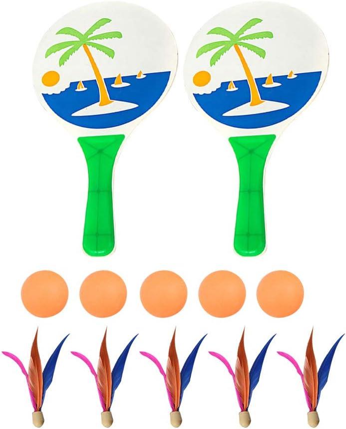 LIOOBO Juego de Pelota de Paleta de Playa Tenis de bádminton Pingpong Paletas de Raqueta de Madera de Cricket de la Playa Juego de Raquetas para Adultos para niños (Asignación aleatoria de Colores)