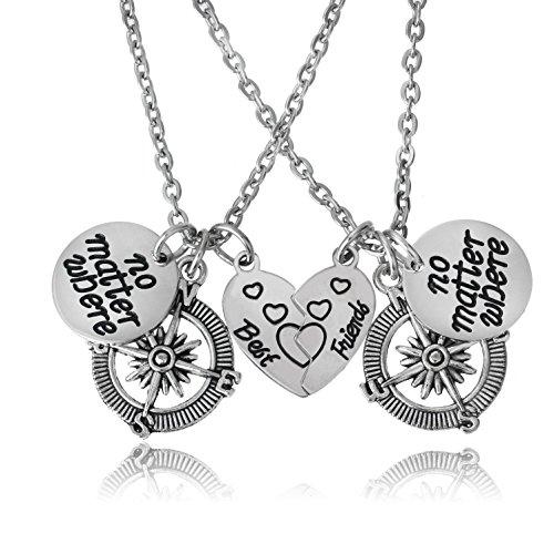 BESPMOSP Best Friends No Matter Where Compass Necklaces Set BFF Friendship Necklace (Long Distance Best Friend Necklaces)