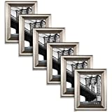 5x7 picture frame silver - Icona Bay 5 x 7 Inch Picture Frames (5x7, 6 Pack) Bulk Set, Champagne Finish, Wall Mount Hangers and Table Top Easel, Display Horizontally or Vertically