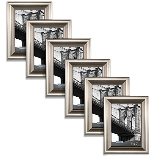 Icona Bay 5 x 7 Inch Picture Frames (5x7, 6 Pack) Bulk Set, Champagne Finish, Wall Mount Hangers and Table Top Easel, Display Horizontally or Vertically