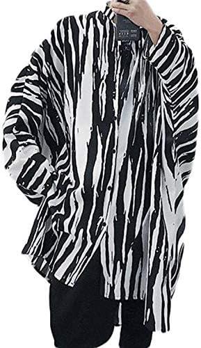 [Bestmood]シャツ メンズ 長袖 UVカット ゆったり ストライプ オーバーシャツ 日焼け止め ドルマンスリーブ 薄手 韓国 ロング ファッション 演出服 夏