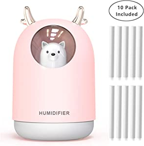 UODBUYO Portable Cool Mist Humidifier - 300ml USB Mini Air Humidifier with 10 Pcs Humidifier Sticks, 7 Color Night Light Room Humidifier for Bedroom Office Desk,Car,Travel (Pink)