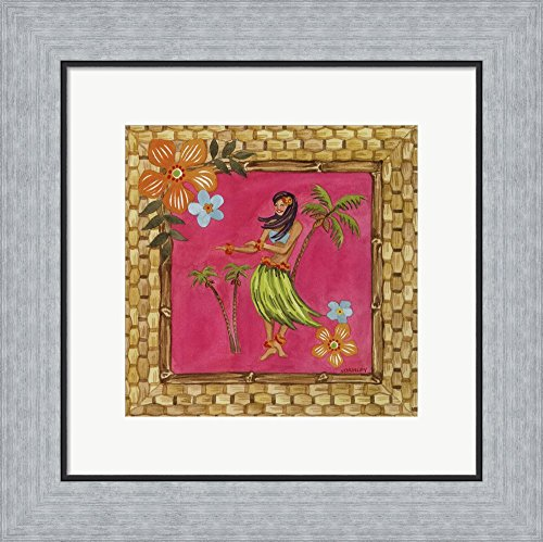 Tiki Girl IV by Jennifer Brinley Framed Art Print Wall Picture, Flat Silver Frame, 16 x 16 inches