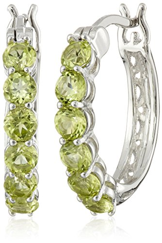 Rhodium Plated Sterling Silver Peridot Hoop Earrings