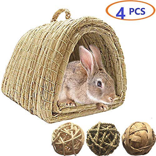 Tfwadmx Bunny Grass House, Natural Hand Woven Seagrass Play Hay Bed, Hideaway Hut Toy for Dwarf Rabbit Guinea Pig Chinchilla Ferret (3 Ball+Bed)