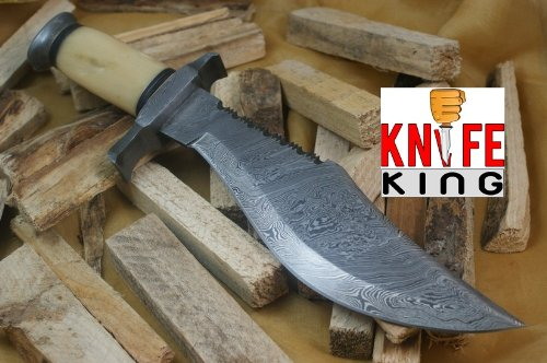 "MASSIVE SALE"" Knife King Custom Damascus Handmade Hunting Knife. With Leather Sheath. Top Quality, Outdoor Stuffs"