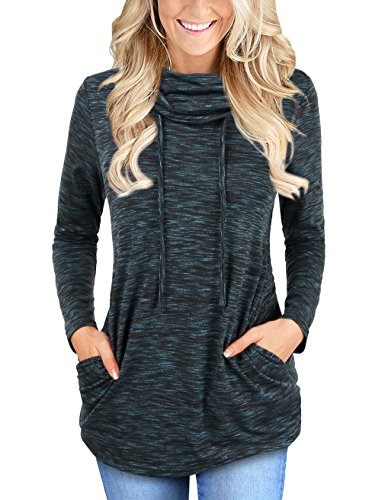 (Faddare Womens Long Sleeve Running Shirt,Sport Pullover Sweater Top,Black Blue M)