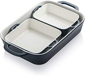 SWEEJAR Ceramic Bakeware Set, Rectangular Baking Dish for Cooking, Kitchen, Cake Dinner, Banquet and Daily Use, 12.8 x 8.9 Inches porcelain Baking Pans (Navy)