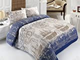 LaModaHome 3 Pcs Soft Colored Full and Double Bedroom Bedding 65% Cotton 35% Polyester Double Quilted Bedspread Set 100% Fiber Filling Padded/Compass Ship Boat Sailing Sea Bird Animal/Bedspread Set
