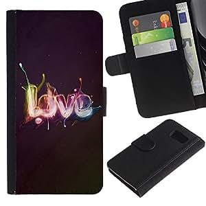 Billetera de Cuero Caso Titular de la tarjeta Carcasa Funda para Samsung Galaxy S6 SM-G920 / Effects LOVE / STRONG