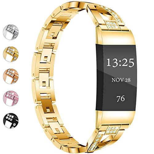 Wekin Replacement Metal Bands Compatible for Fitbit Charge 3 /Charge 3 SE Women Men, Bling Rhinestone Jewelry Bracelet Wristbands Straps Accessory for Charge 3 Fitness Tracker (X-Gold)