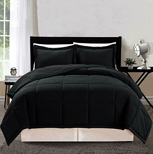 3 piece Luxury BLACK Goose Down Alternative Comforter Set, Queen Duvet - Black Duvet Queen