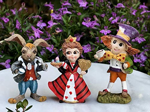 (ShopForAllYou Figurines and Statues Miniature Dollhouse Fairy Garden ~ Alice in Wonderland Red Queen Mad Hatter Hare)