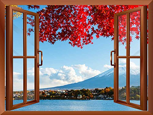 Copper Window Looking Out Into a Red Tree that Frames Mount Fuji Wall Mural