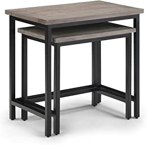 Simpli Home Skyler Solid Mango Wood and Metal 25 inch wide Rectangle Industrial 2 Pc Nesting Side Table in Birch, Fully Assembled, for the Living Room and Bedroom