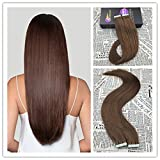 Moresoo 14 inch 50g/20pcs Chocolate Brown Color #4 100% Straight Unprocessed Remy Salon Quality Human Hair Seamless Skin Weft Tape In Hair Extensions