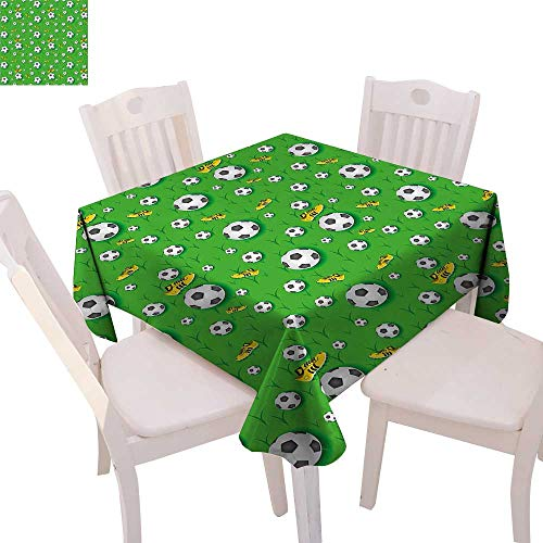 """cobeDecor Soccer Dinning Tabletop DecorProfessional Player Athletics Pattern Football Shoes Balls on Grass Table Cover for Kitchen 54""""x54"""" Lime Green Yellow Black"""