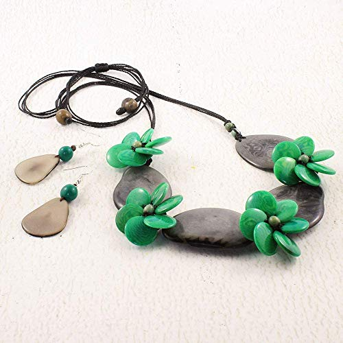 Gray and Green Floral Statement Necklace and Earring Set made from Eco Tagua Nut, Ethnic Jewelry for Women