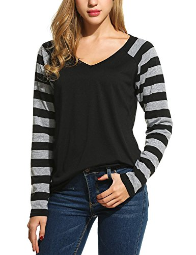 ELESOL Women's Fashion Long Sleeve Striped Splicing V-Neck T-Shirt Black XL