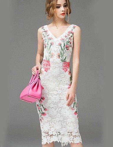 PU&PU Robe Aux femmes Gaine Street Chic,Fleur Col en V Midi Polyester , white-s , white-s