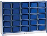Mobile 20 Compartment Cubby Trays: Without Trays, Trim Color: Orange, Size: 25 Compartments