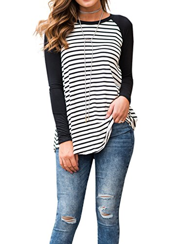 Adreamly Women's White and Black Striped Long Sleeve Baseball T Shirt Sport Tunic Tops Black -