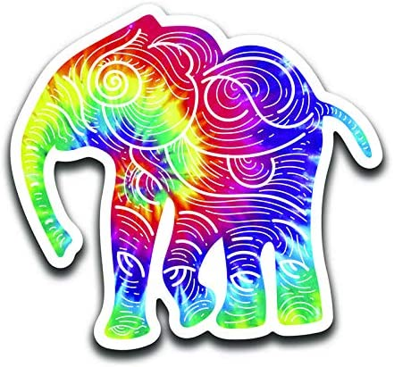 More Shiz Tie Dye Elephant Two 5 Inch Decals MKS0958 2 Pack Car Truck Van SUV Window Wall Cup Laptop Vinyl Decal Sticker