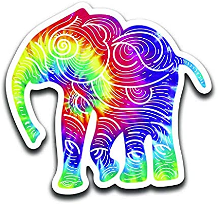 More Shiz Tie Dye Elephant 2 Pack MKS0958 Vinyl Decal Sticker Car Truck Van SUV Window Wall Cup Laptop Two 5 Inch Decals