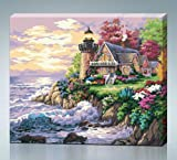 Toy - Diy oil painting, paint by number kit- Seaside Villa 16*20 inch.