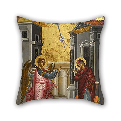 Artistdecor Oil Painting Tzanfournaris Emmanuel - The Annunciation Throw Pillow Case 18 X 18 Inches / 45 By 45 Cm Gift Or Decor For Gf,monther,kids,couch,dining Room,coffee House - Each -